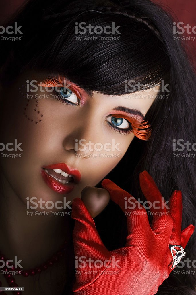 Attractive female with valentine's chocolate royalty-free stock photo