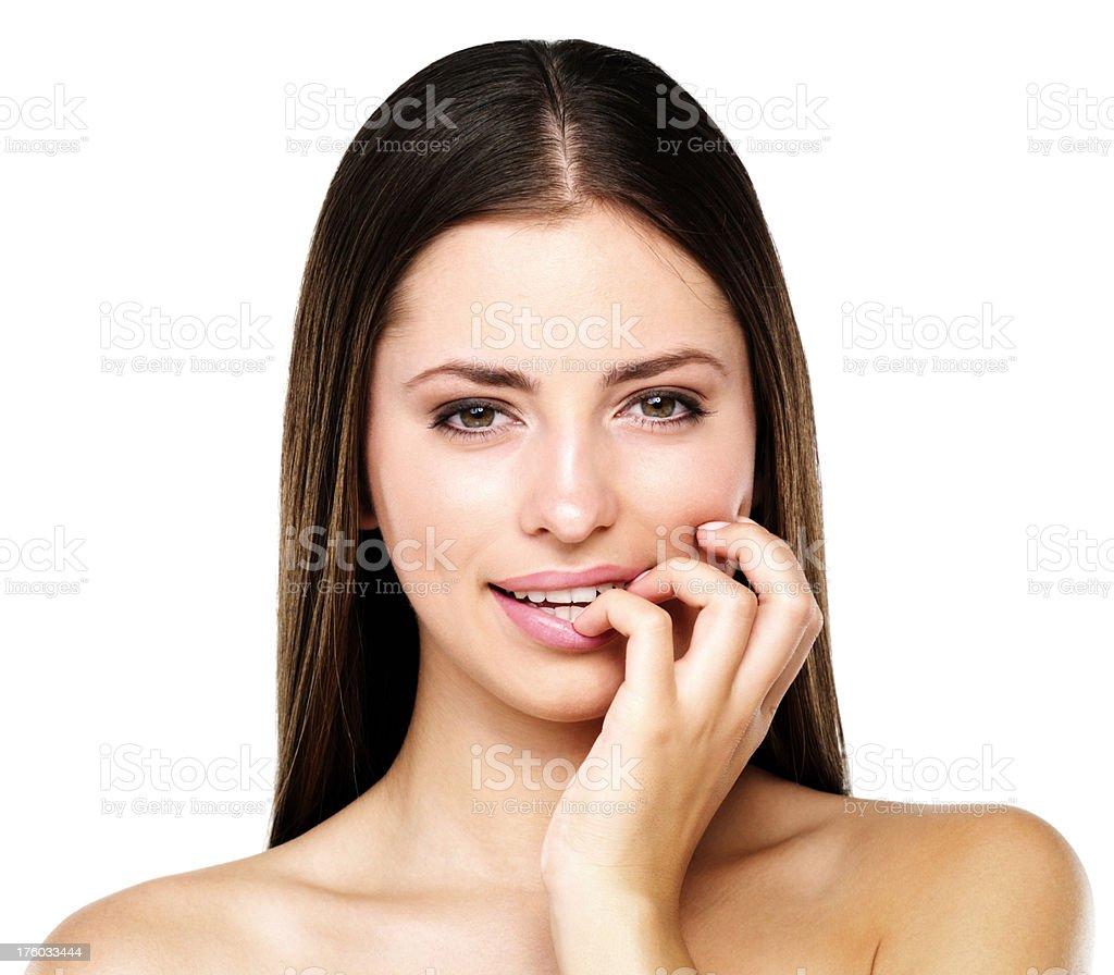 Attractive flirtatious woman stock photo