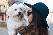 istock Attractive Girl and White Puppy 1203627723