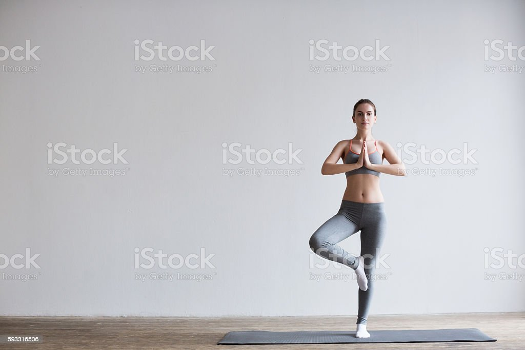 Attractive girl do yoga. stock photo