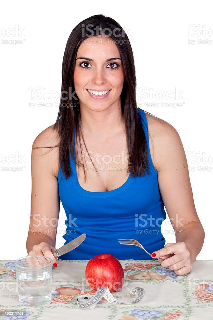 Attractive girl eating a apple stock photo