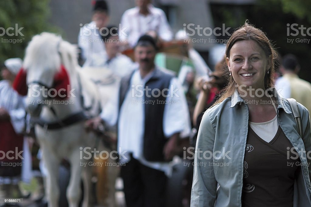 Attractive girl enjoying ethno festival royalty-free stock photo