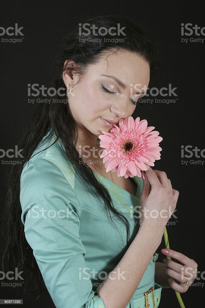 Attractive girl on black background royalty-free stock photo