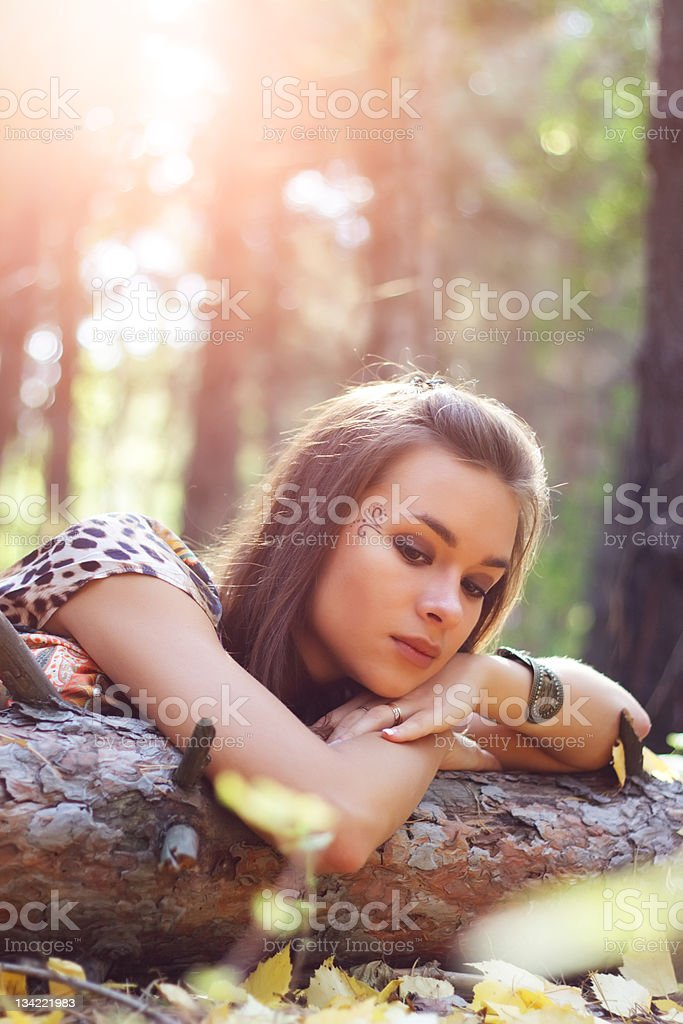 attractive girl on the nature royalty-free stock photo