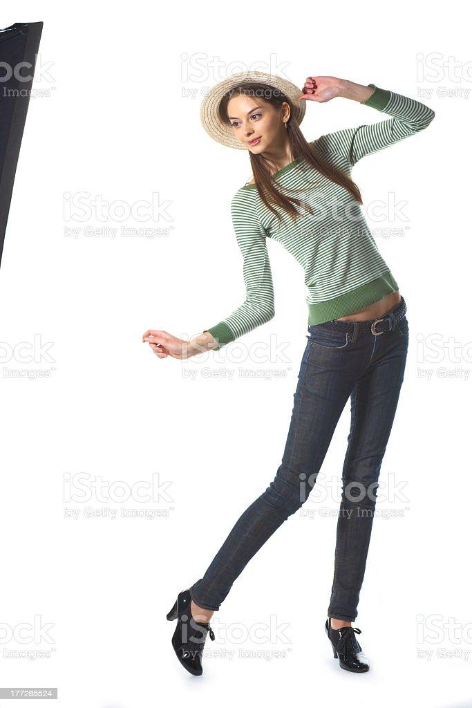 Attractive girl posing in studio royalty-free stock photo