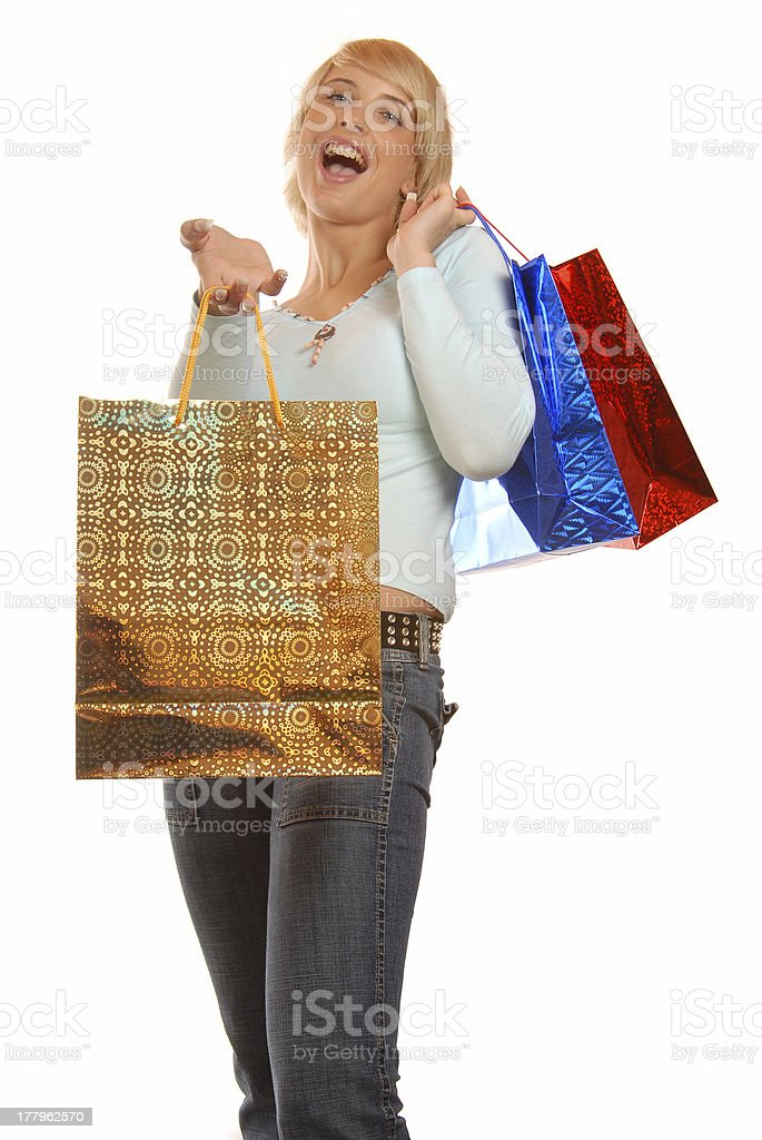 Attractive girl shopping royalty-free stock photo