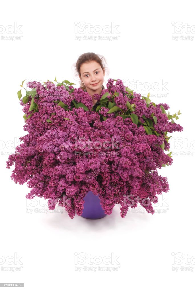 Attractive girl standing by the lilac stock photo