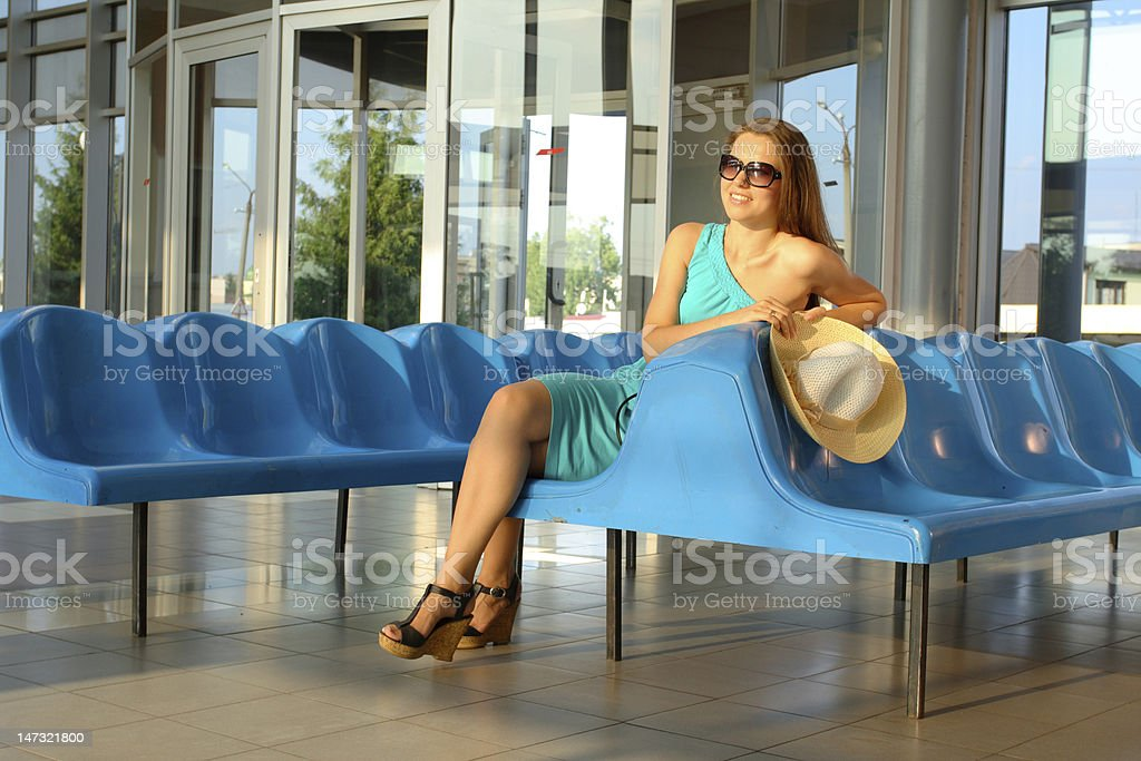 attractive girl waiting somebody royalty-free stock photo