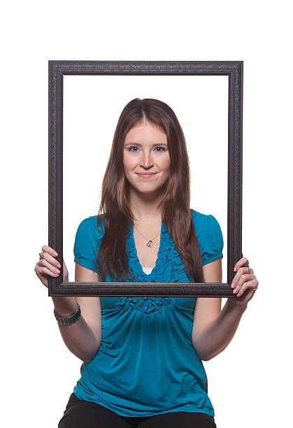Attractive Girl With Frame stock photo