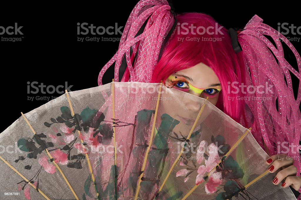 Attractive girl with Japanese umbrella stock photo