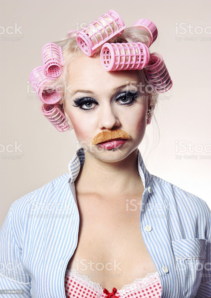 Attractive girl with mustache royalty-free stock photo