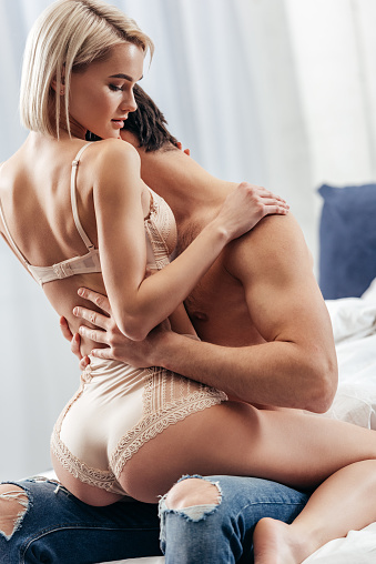 Attractive Girlfriend And Boyfriend Hugging And Making