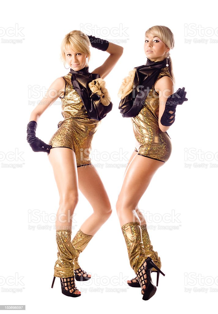 attractive go-go girls in gold costumes on white background royalty-free stock photo