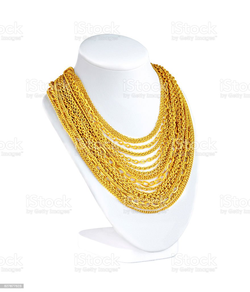 attractive gold necklaces stock photo