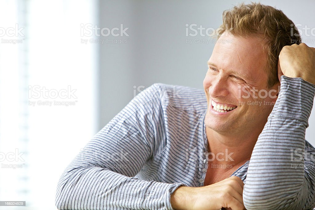attractive happy man smiling royalty-free stock photo