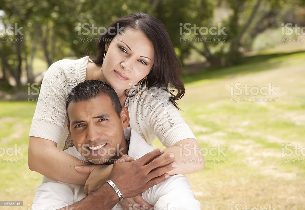 Attractive Hispanic Couple in the Park royalty-free stock photo