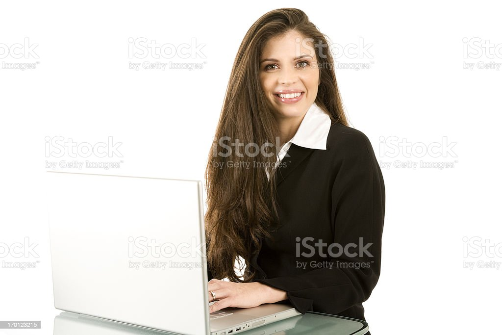 Attractive Hispanic Woman working laptop computer business attire isolated royalty-free stock photo