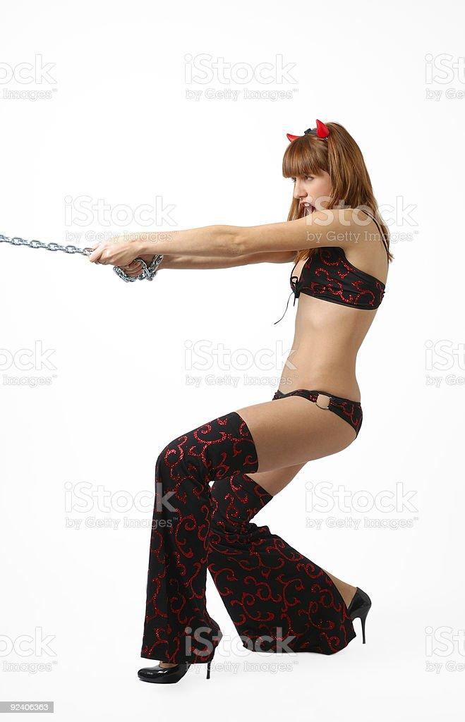 Attractive imp with chain stock photo