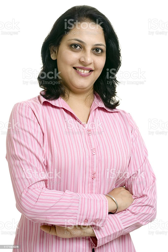Attractive Indian Businesswoman isolated on White Background royalty-free stock photo