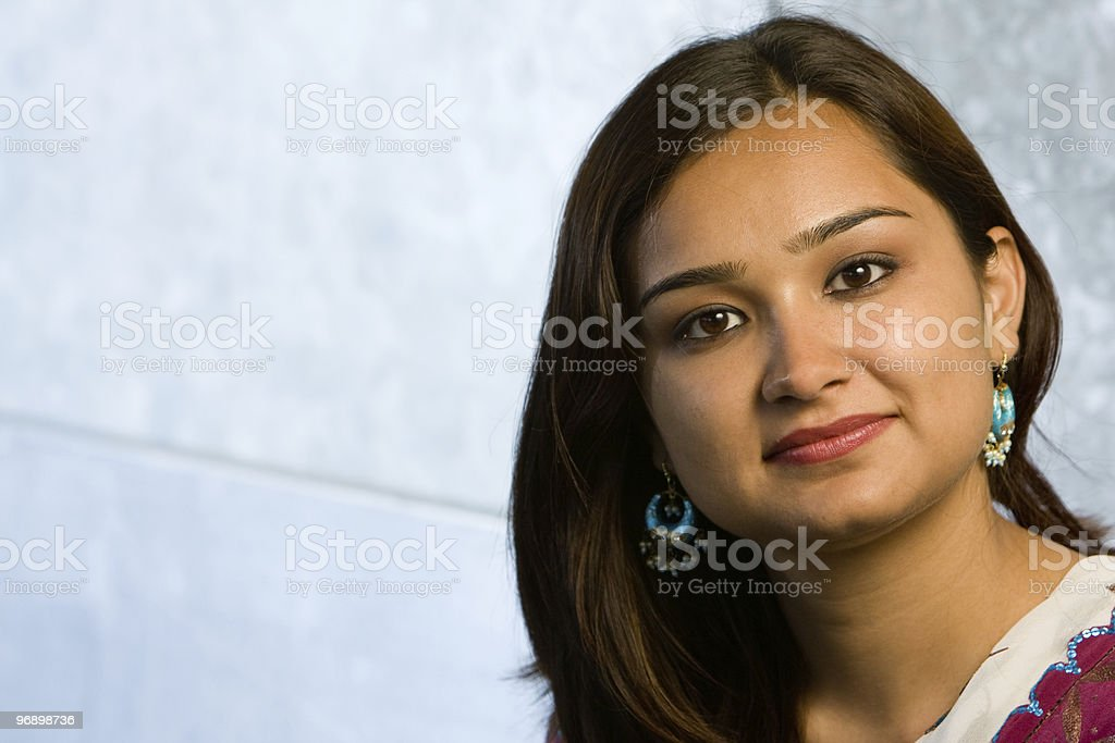 Attractive indian lady in traditional costume stock photo