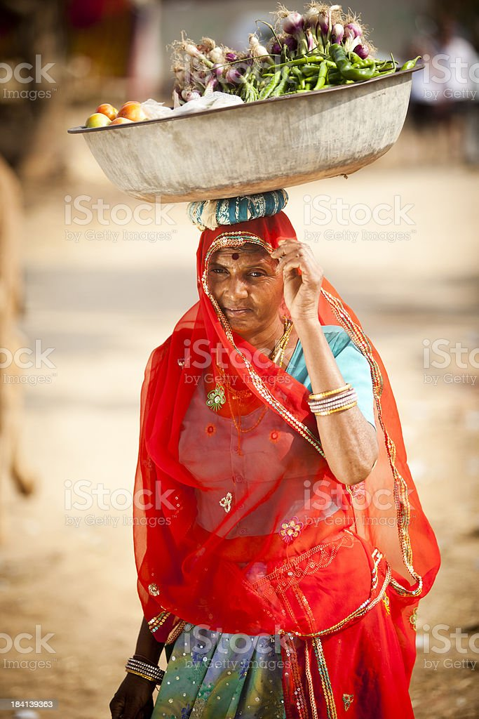 Attractive Indian Woman Carrying Food royalty-free stock photo
