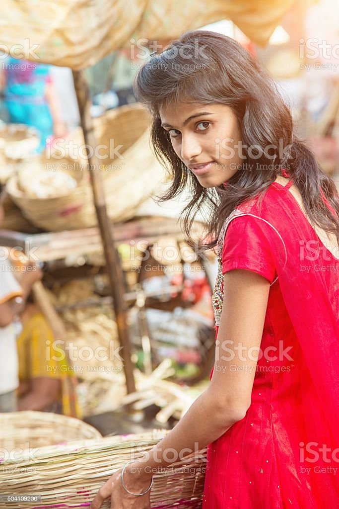 Attractive Indian Woman Shopping Udaipur Street Market India stock photo
