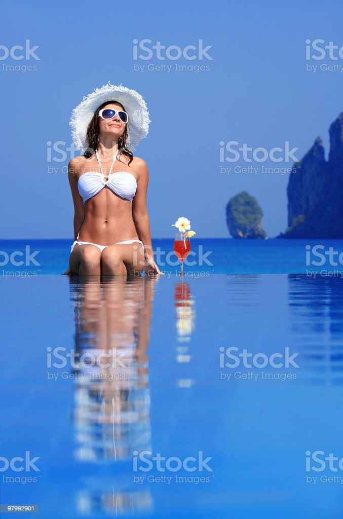 Attractive lady with cocktail. royalty-free stock photo