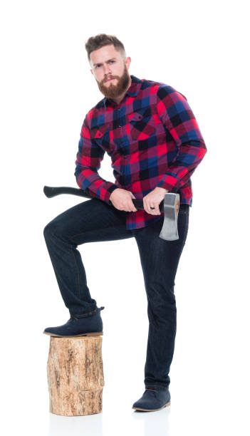 Attractive lumberjack with beard and axe and tree stump Attractive man with beard lumberjack stock pictures, royalty-free photos & images