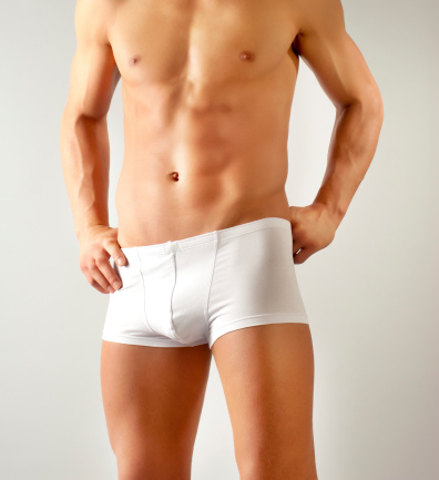 Attractive Male Body With White Underwear Stock Photo - Download Image Now