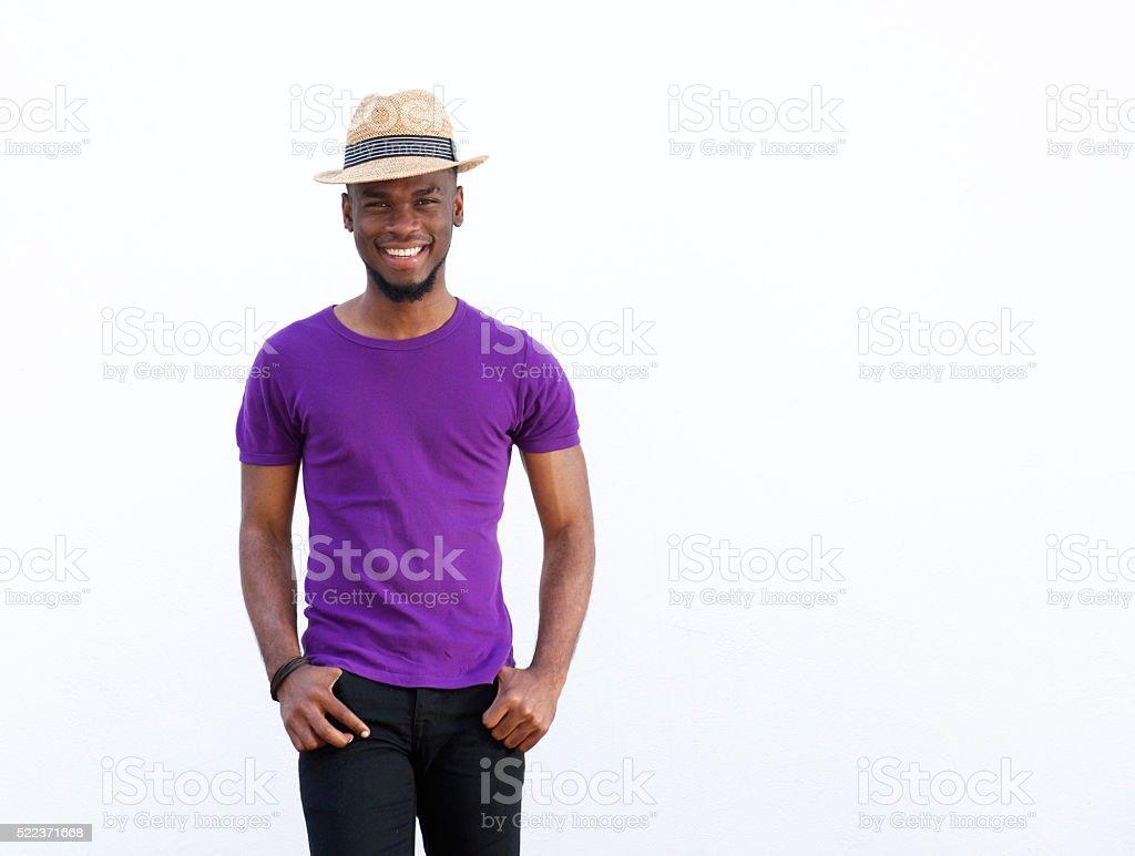 Attractive male fashion model posing stock photo