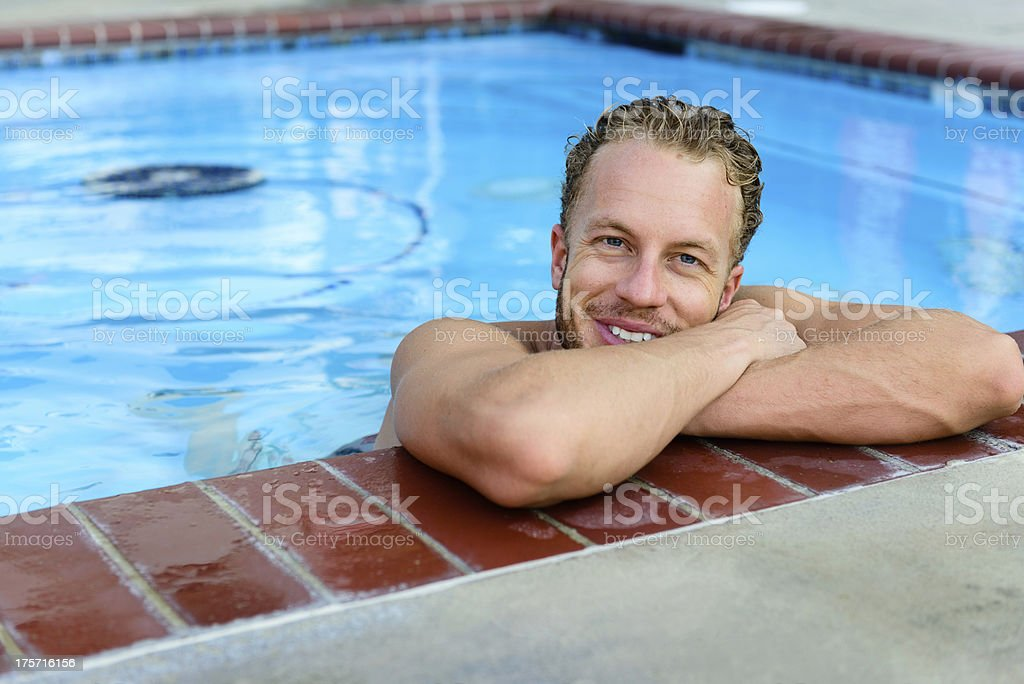 Attractive Male In Pool royalty-free stock photo