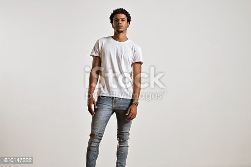 613542420 istock photo Attractive male model presenting blank white t-shirt 610147222