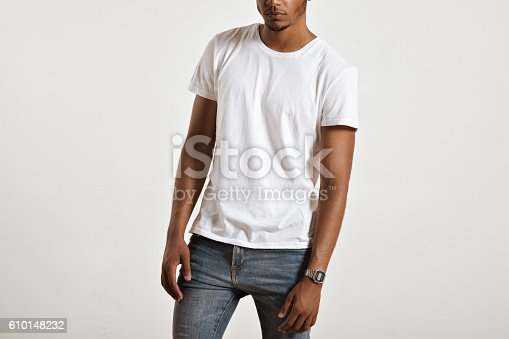 istock Attractive male model presenting blank white t-shirt 610148232