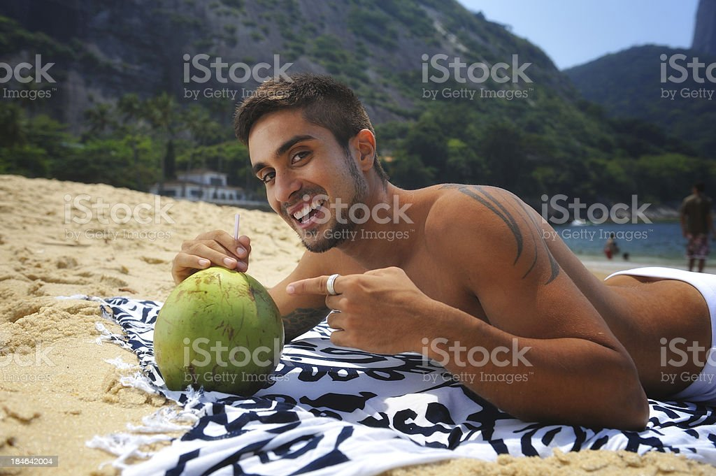 Attractive male on the beaches of Rio royalty-free stock photo