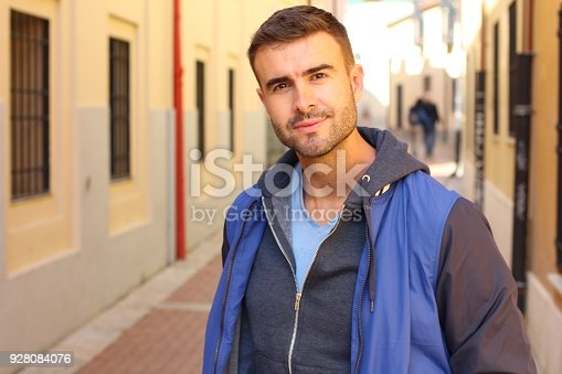 Attractive male outdoors isolated.