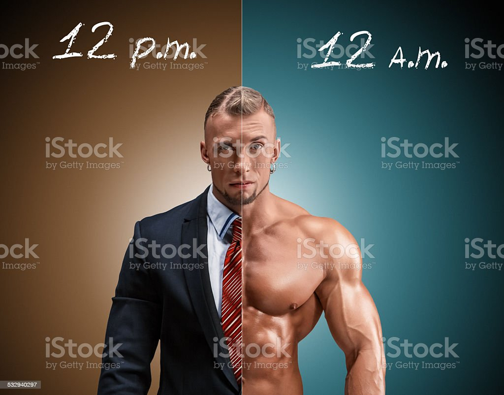 Attractive man in a business suit and without it on stock photo