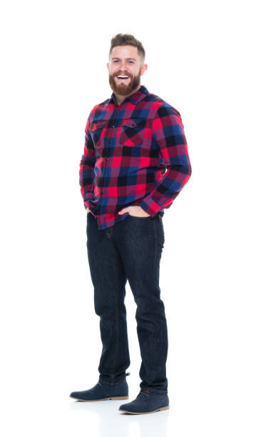 Attractive man in plaid shirt hanging out Attractive man in plaid shirt plaid shirt stock pictures, royalty-free photos & images