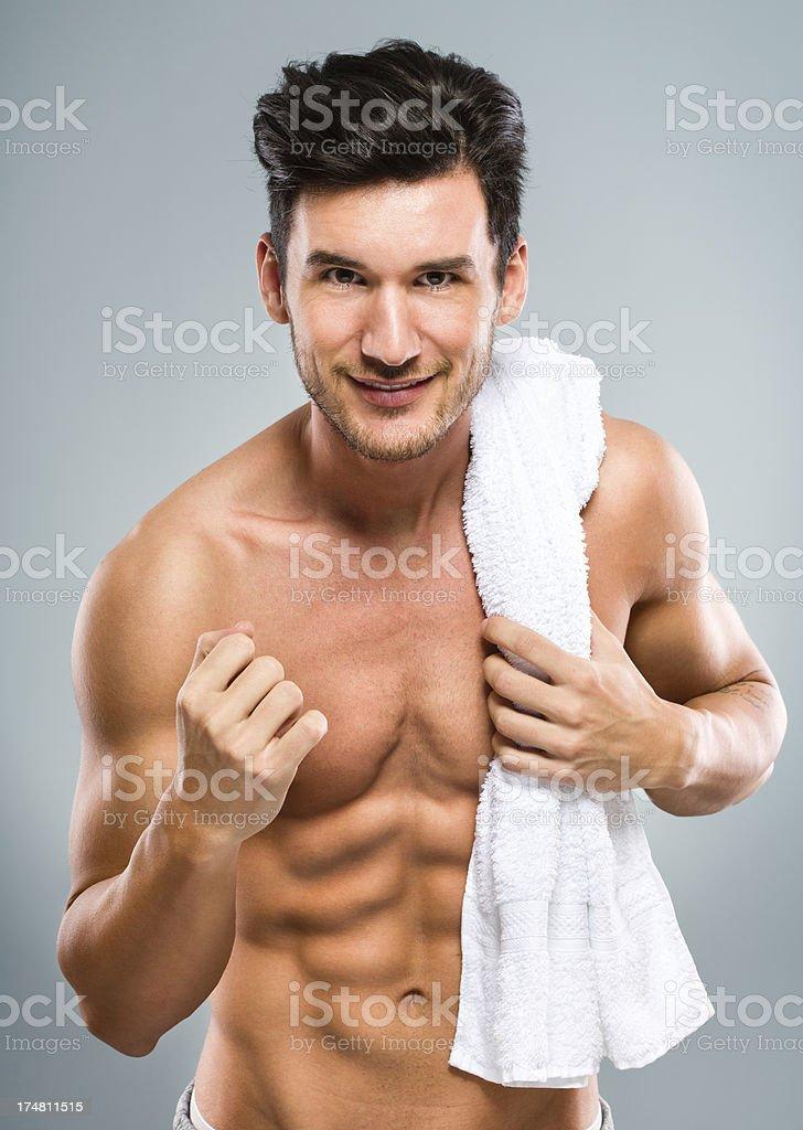 Attractive man jogging royalty-free stock photo