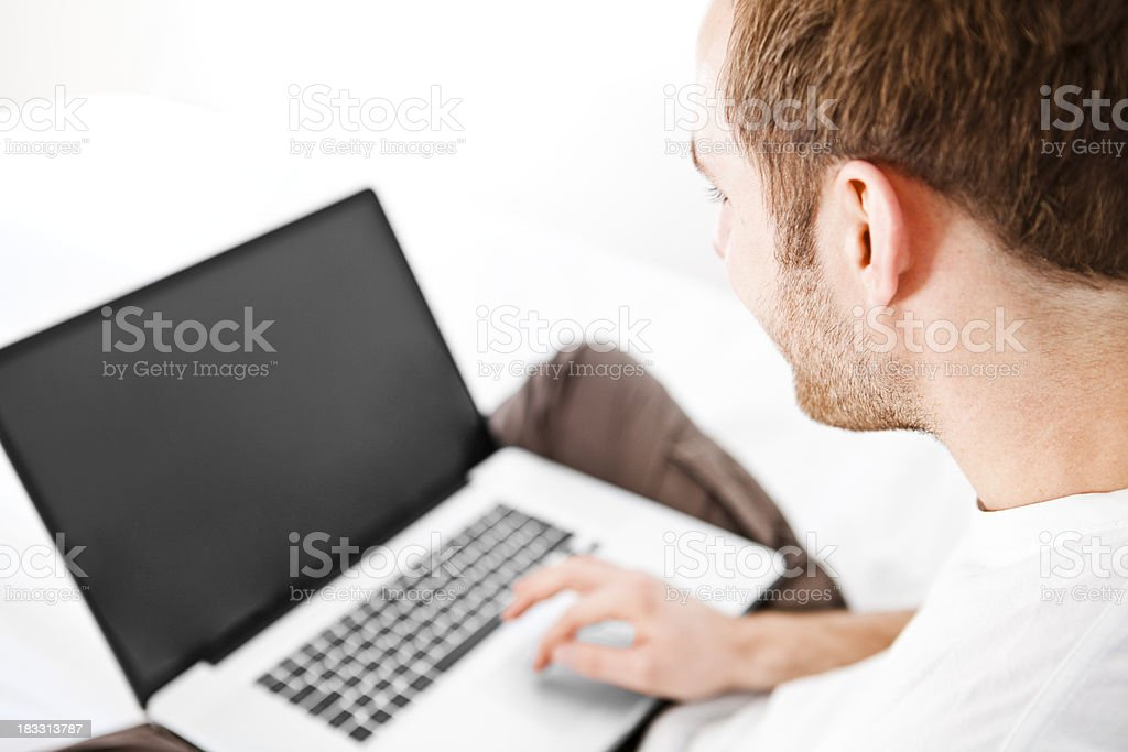 Attractive man on the computer royalty-free stock photo