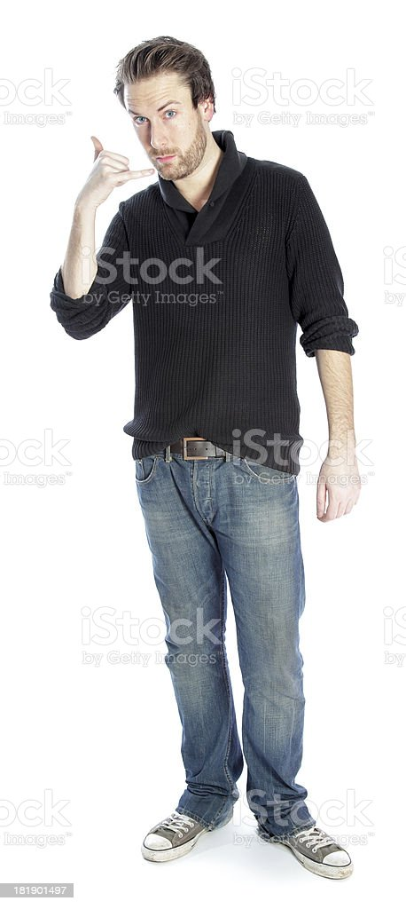 Attractive man wearing casual clothes isolated on a white background royalty-free stock photo