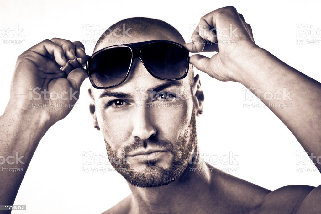 Attractive man with sunglasses stock photo