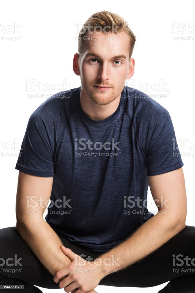 Attractive man working out stock photo