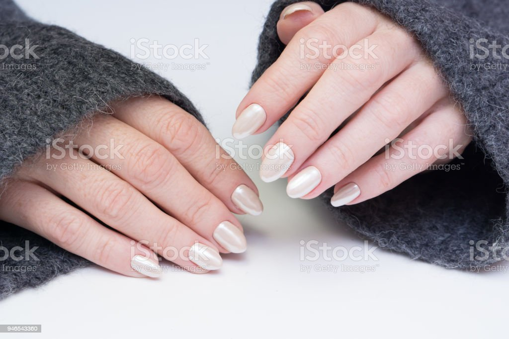 Attractive manicure on women s hands. Natural finger nails with stylish  nail art. - Stock image . 9306475ce