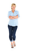 istock Attractive mature woman standing relaxed on white 175219720