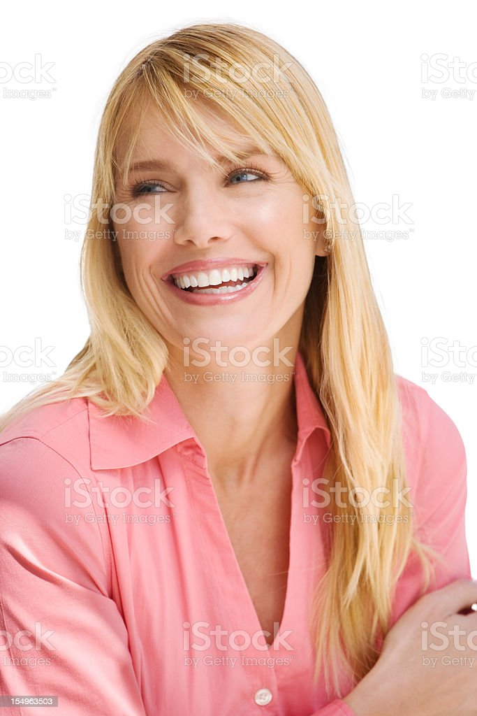 Attractive Mid adult woman laughing royalty-free stock photo