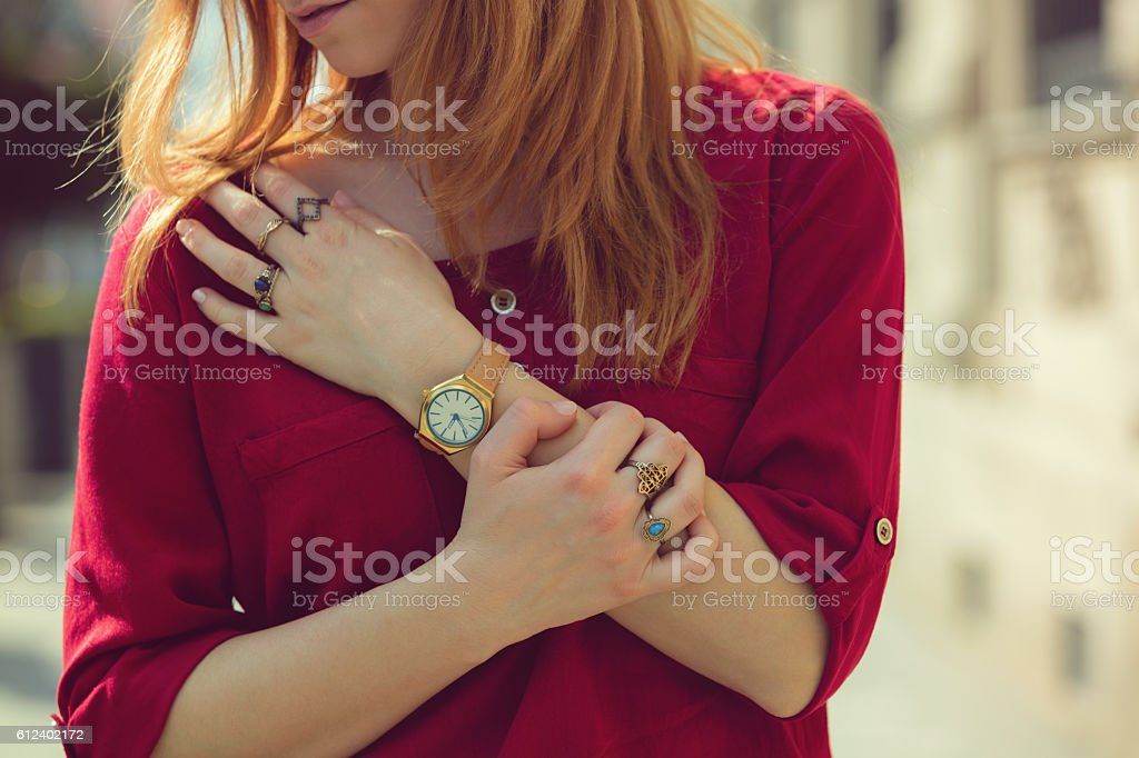 Attractive modern woman.Close up fashion details. stock photo