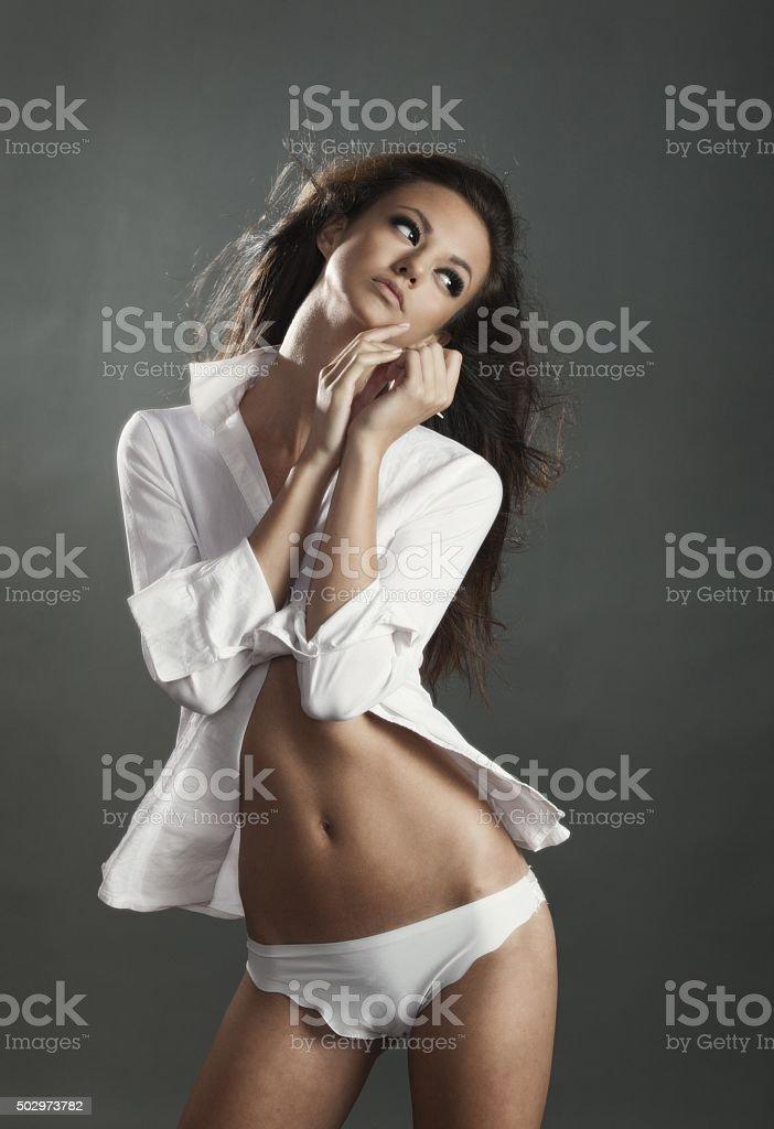 Attractive Naked Brunette Girl Stock Photo