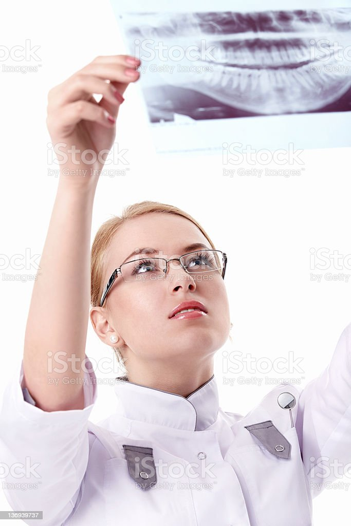 Attractive nurse with X-ray stock photo