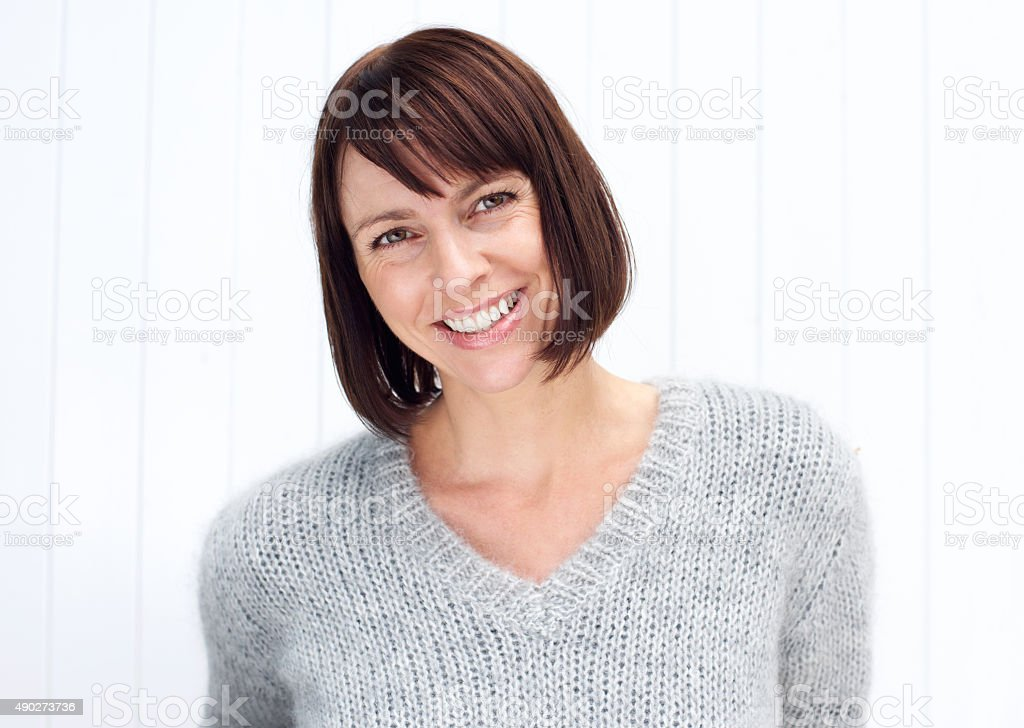 Attractive older woman smiling stock photo