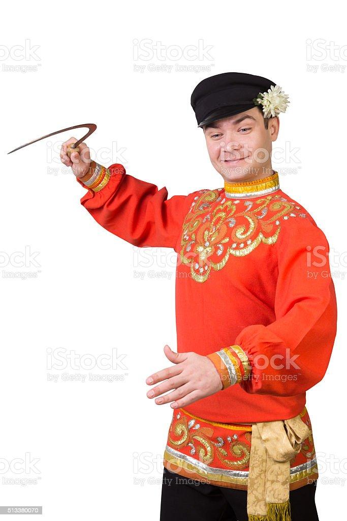 Attraktiver Mann Mit Sichel In Russische Folklore Kleidung Stock